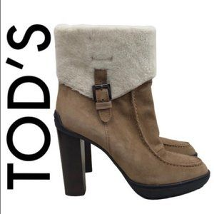 TOD'S BROWN TAN SUEDE BOOTS SIZE 9